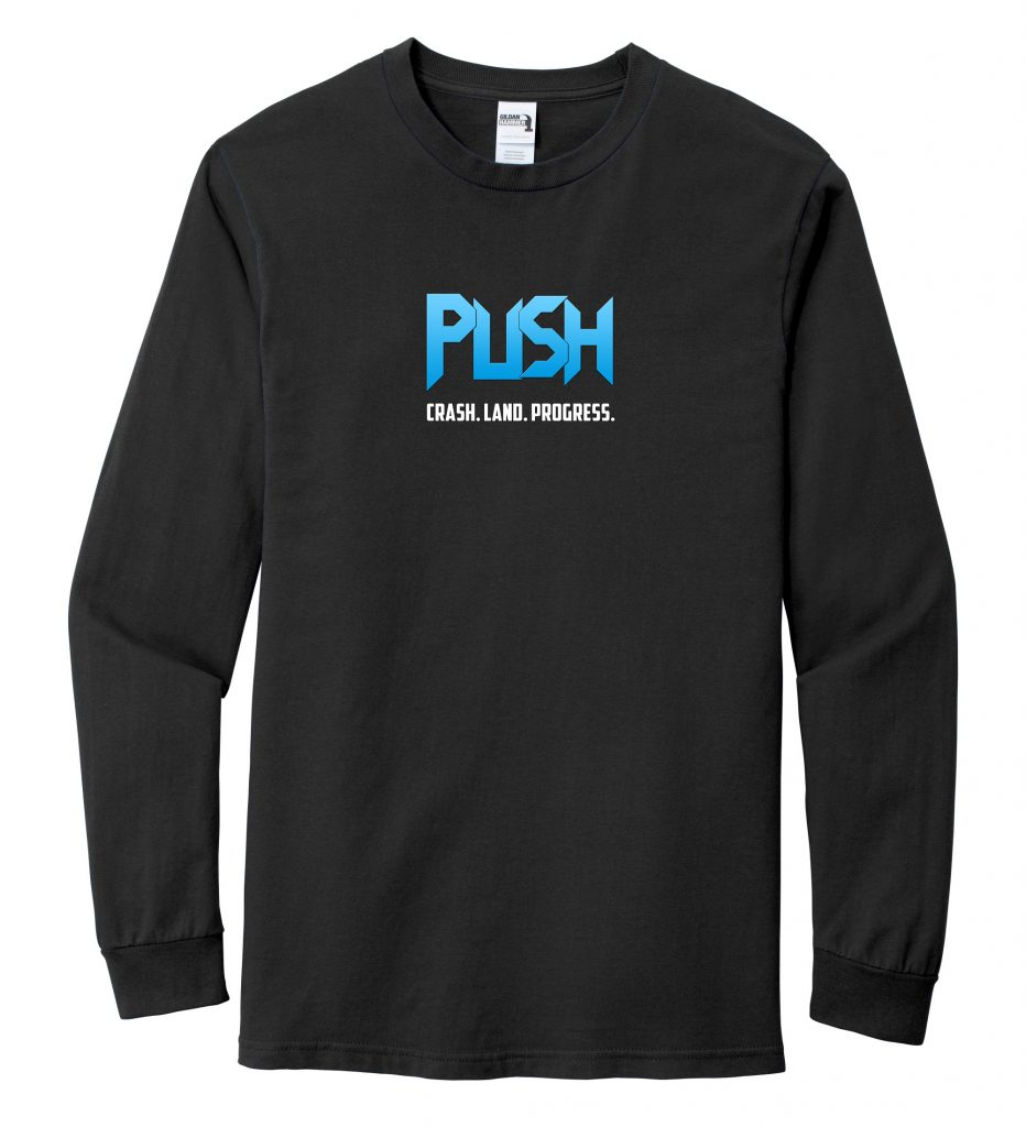 "Long Sleeve PUSH ""Crash Land Progress"" T-Shirt"