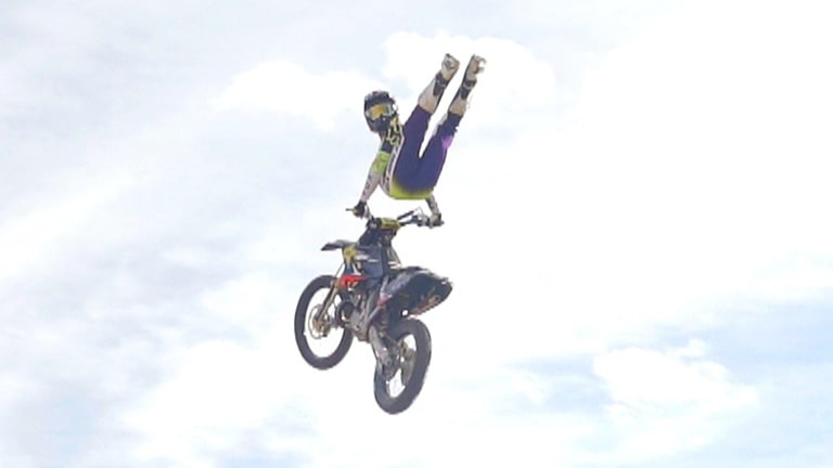 Switchblade on an FMX bike with Adam Jones